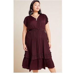 NWOT-Anthropologie Sereia Pleated Midi Dress (1X)